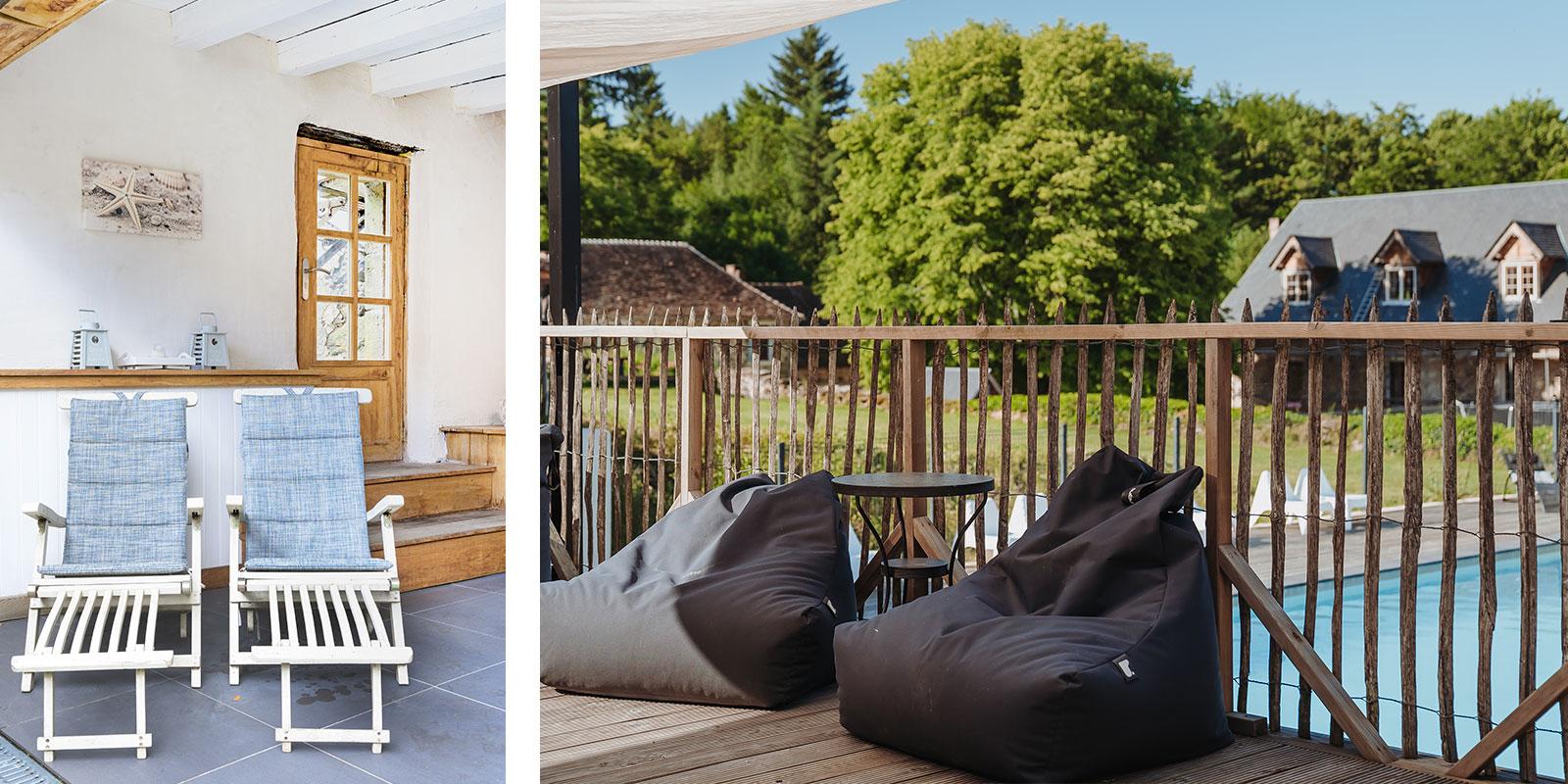 LOTT vakantiehuizen Frankrijk sfeerimpressie vakantiehuisjes lounge en zwembad!